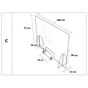 Προστατευτικό Διαχωριστικό Plexiglass - 100x75 cm